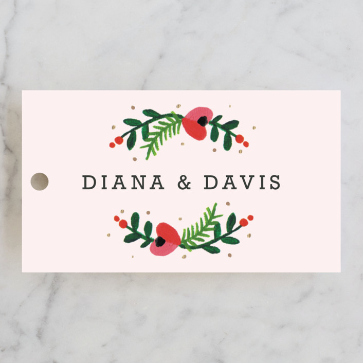 """Simple Flora"" - Floral & Botanical Wedding Favor Tags in Pink by Kristen Smith."