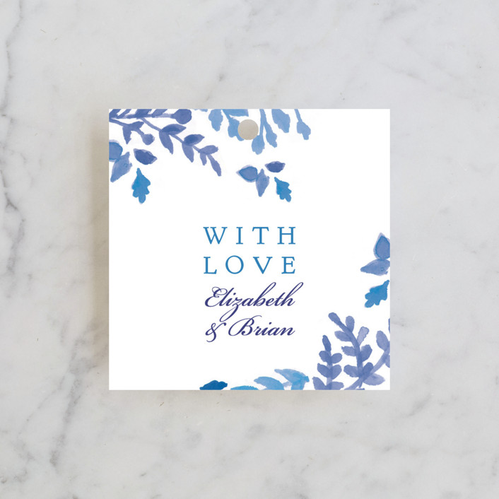 """China Plate"" - Floral & Botanical Wedding Favor Tags in Royal Blue by Ariel Rutland."