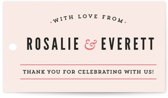 This is a landscape bold typographic, simple, pink Wedding Favor Tags by Melissa Egan of Pistols called Classic Type with Standard printing on Signature in Tag Flat Card format. Add the perfect finishing touch to all of your wedding gifts ...