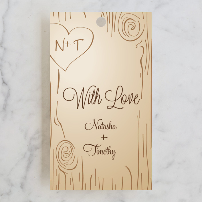 """Fall Carving"" - Rustic, Whimsical & Funny Wedding Favor Tags in Woodgrain by Amanda Joy."