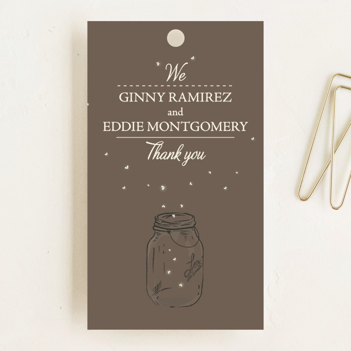 """Fireflies"" - Rustic, Hand Drawn Wedding Favor Tags in Zuni Brown by Paige Rothhaar."
