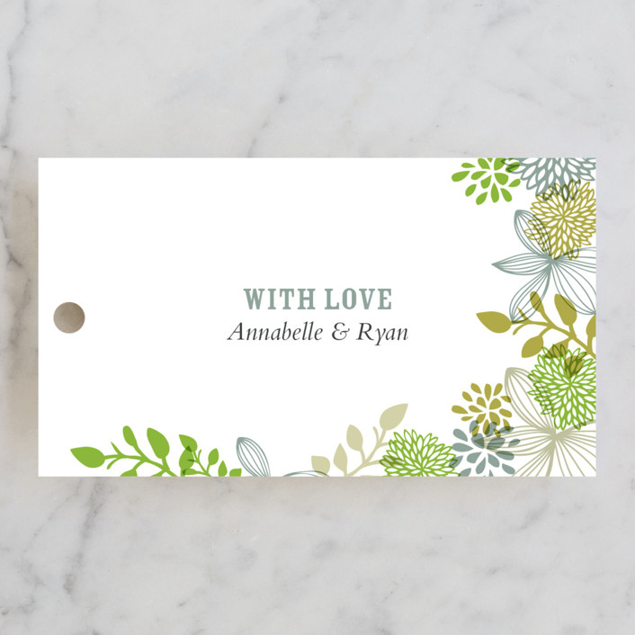 """Fling"" - Floral & Botanical, Rustic Wedding Favor Tags in Leaf by Andrea Mentzer."