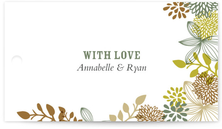 This is a landscape floral, rustic, brown Wedding Favor Tags by Andrea Mentzer called Fling with Standard printing on Signature in Tag Flat Card format. Add the perfect finishing touch to all of your wedding gifts with these chic and ...