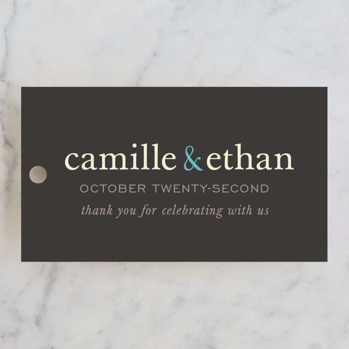 """""""Pop of Color"""" - Modern, Simple Wedding Favor Tags in Turquoise by kelli hall."""