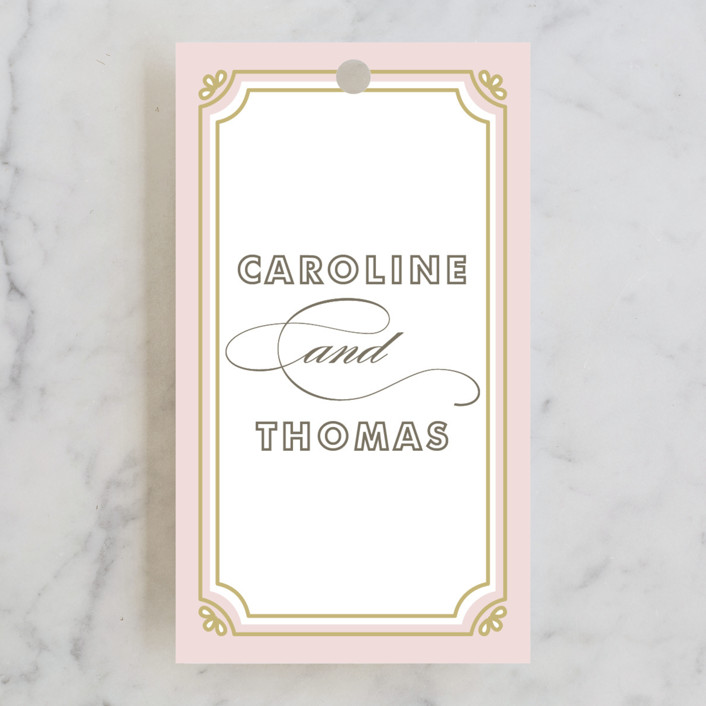 """""""Modern Deco"""" - Vintage Wedding Favor Tags in Blush by Bourne Paper Co.."""