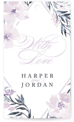 This is a portrait botanical, blue, purple Wedding Favor Tags by Qing Ji called Poetic Blue with Standard printing on Signature in Tag Flat Card format. Add the perfect finishing touch to all of your wedding gifts with these chic ...