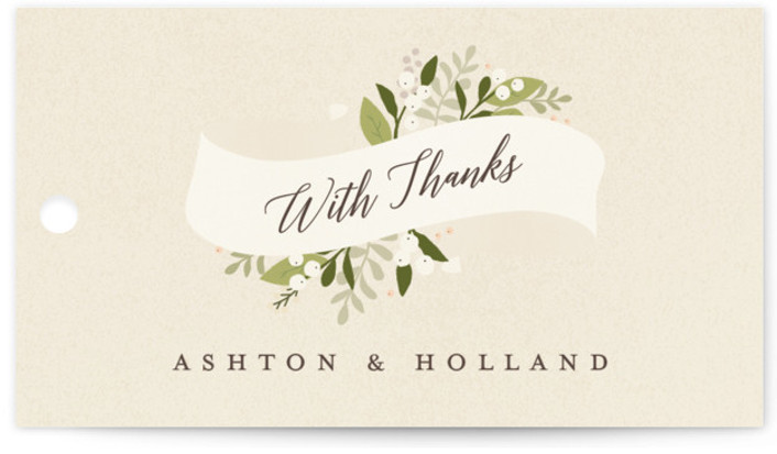 This is a landscape botanical, rustic, beige Wedding Favor Tags by Jennifer Wick called Ribbonly with Standard printing on Signature in Tag Flat Card format. Add the perfect finishing touch to all of your wedding gifts with these chic and ...
