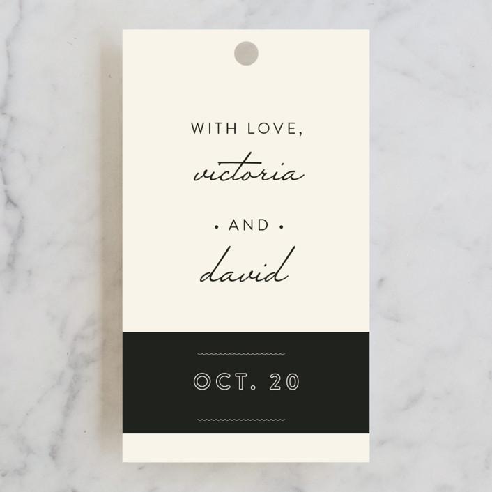 """Plain Jane"" - Elegant, Simple Wedding Favor Tags in Classic Cream by Design Lotus."