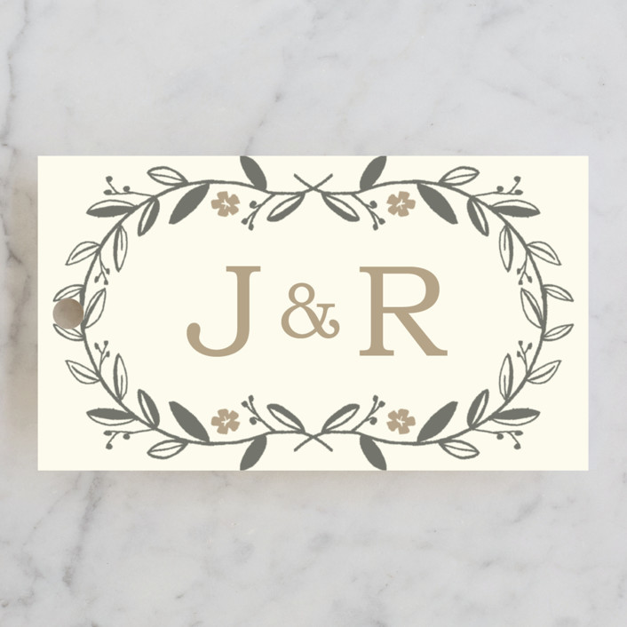 """Garland"" - Monogrammed, Rustic Wedding Favor Tags in Harvest by SimpleTe Design."