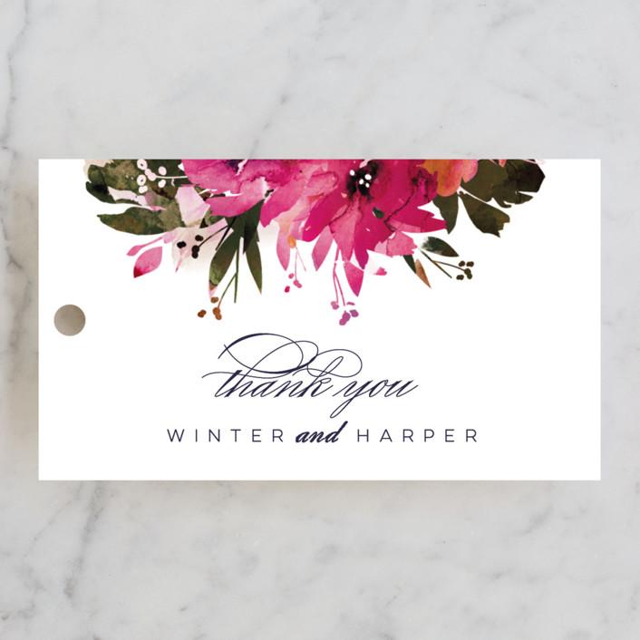 """Peeking Florals"" - Wedding Favor Tags in Fuchsia by Lori Wemple."