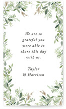 This is a green wedding favor tag by Jennifer Postorino called Trailing Vine with standard printing on signature in tag.