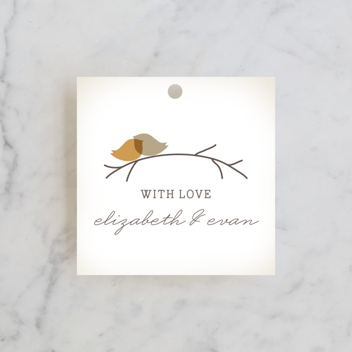 """Nestled"" - Wedding Favor Tags in Pumpkin Spice by Design Lotus."