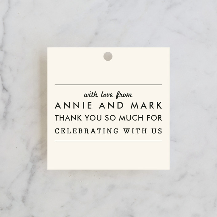 """""""The Square Types"""" - Modern, Simple Wedding Favor Tags in Creme by Design Lotus."""