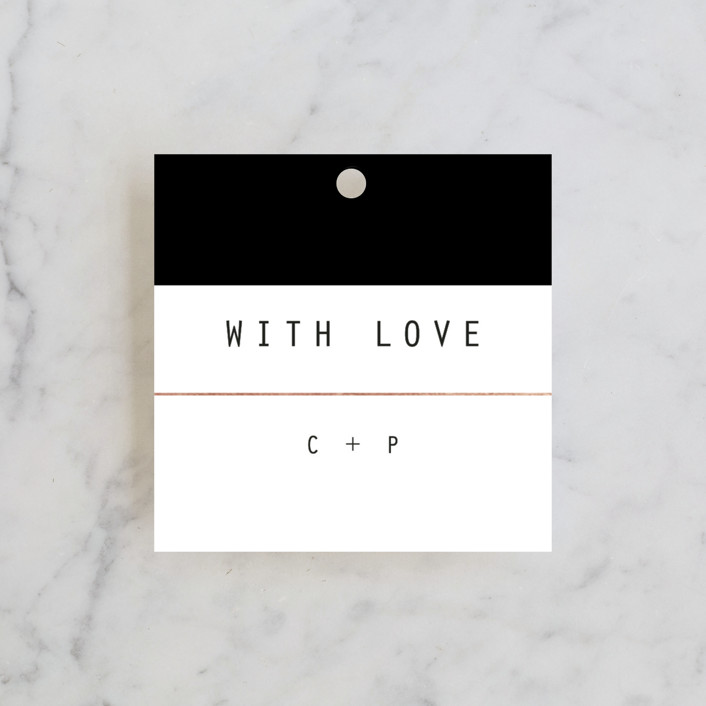 """BOLD AS LOVE"" - Simple, Modern Wedding Favor Tags in Noir by DESIGN X FIVE."