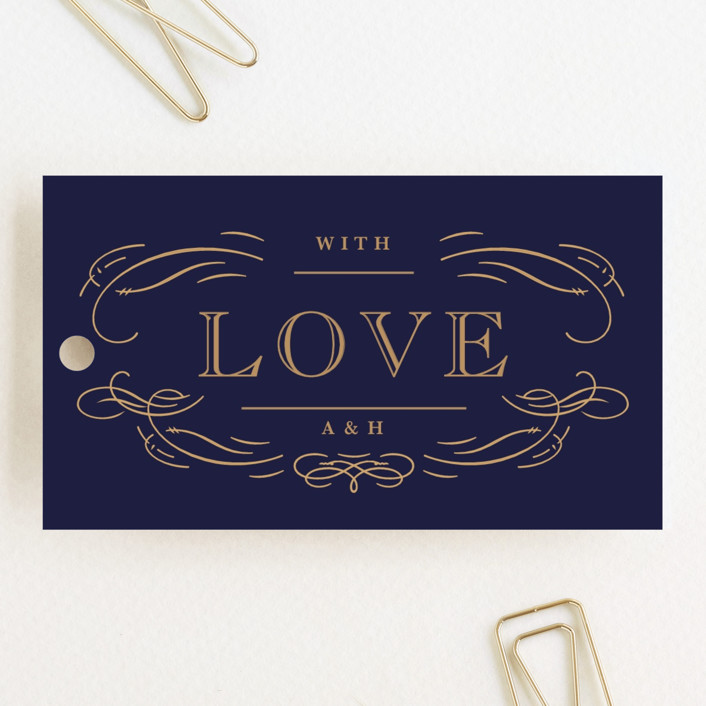 """Elegant Flourishes"" - Vintage, Elegant Wedding Favor Tags in Navy by Kristen Smith."