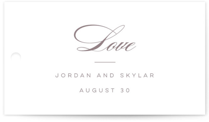 This is a landscape bold and typographic, classic and formal, simple and minimalist, purple Wedding Favor Tags by Lori Wemple called Waltz with Standard printing on Signature in Tag Flat Card format. Add the perfect finishing touch to all of ...