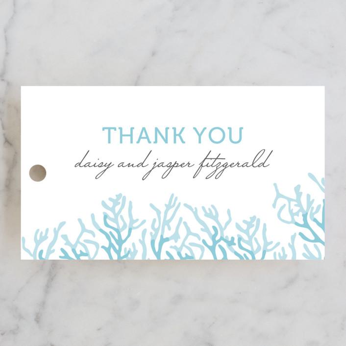 """Simple Coral"" - Beach Wedding Favor Tags in Aqua Blue by SimpleTe Design."
