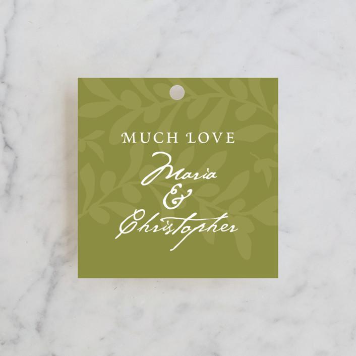 """""""Italiano"""" - Classical, Rustic Wedding Favor Tags in Olive by Yolanda Mariak Chendak."""