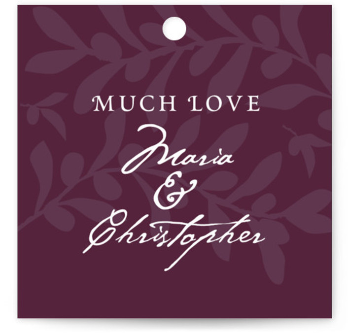 This is a square classical, elegant, rustic, purple, red Wedding Favor Tags by Yolanda Mariak Chendak called Italiano with Standard printing on Signature in Tag Flat Card format. Add the perfect finishing touch to all of your wedding gifts with ...
