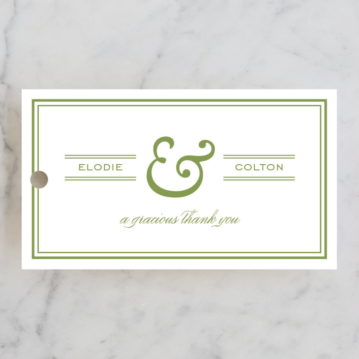 """Country Club"" - Simple, Preppy Wedding Favor Tags in Spring Green by annie clark."