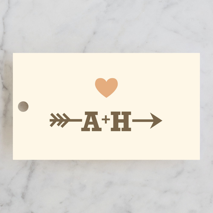 """""""Love Struck"""" - Rustic, Simple Wedding Favor Tags in Pale Salmon Peach by The Social Type."""