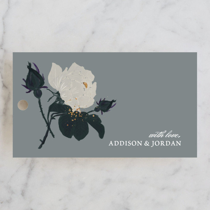 """Romanticism"" - Floral & Botanical Wedding Favor Tags in Slate by Annie Walker."