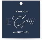 This is a blue wedding favor tag by Lindsay Stetson Thompson called Forever Intertwined with standard printing on signature in tag.