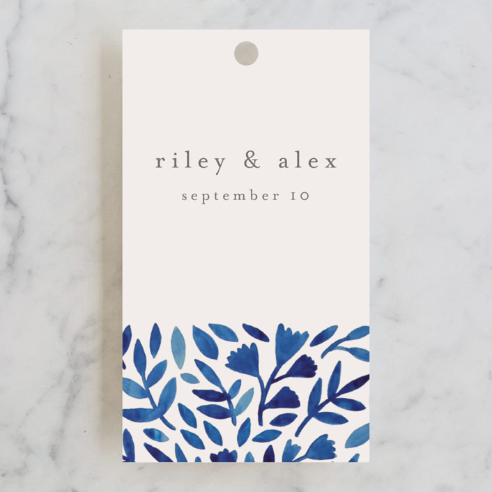 """Wildflower Floral"" - Wedding Favor Tags in Navy by Katharine Watson."