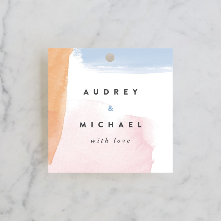 """Watercolor Wisp"" - Wedding Favor Tags in Blush by Ariel Rutland."