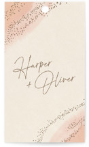 This is a pink wedding favor tag by Robin Ott called empyrean with standard printing on signature in tag.