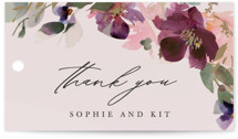This is a pink wedding favor tag by Lori Wemple called Fleur with standard printing on signature in tag.