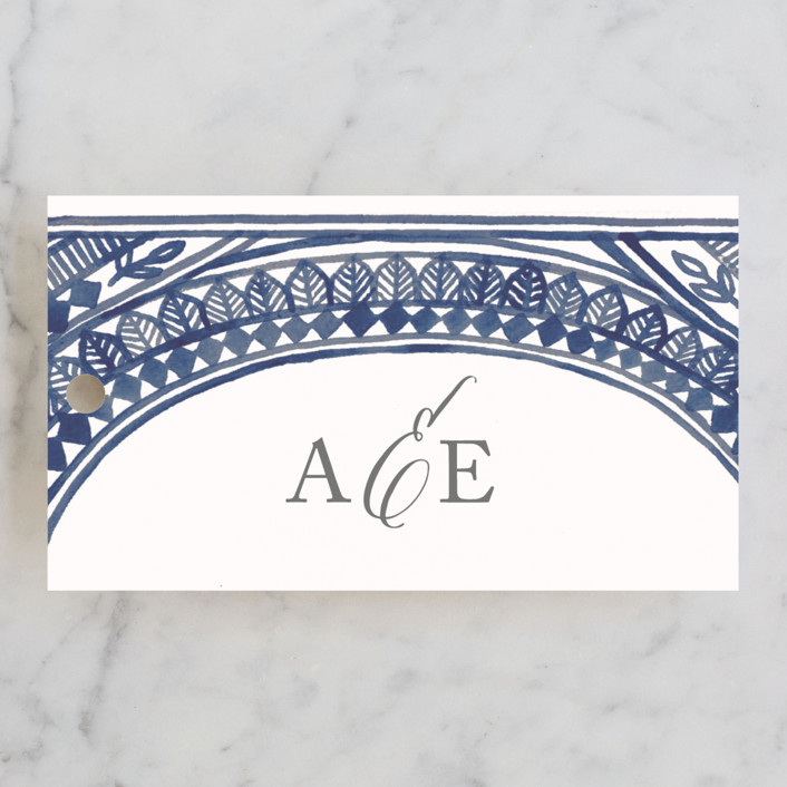 """Ornate Watercolor Frame"" - Bohemian Wedding Favor Tags in Lapis by Katharine Watson."