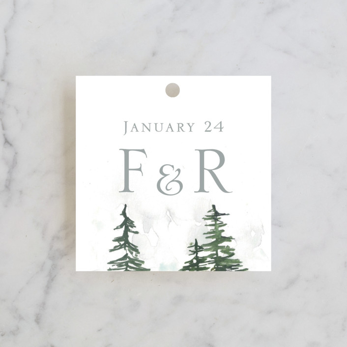 """""""On the Slopes"""" - Destination, Rustic Wedding Favor Tags in Fog by Nikkol Christiansen."""