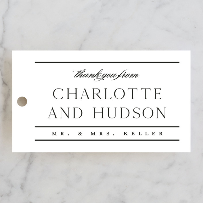 """""""Heard the news"""" - Wedding Favor Tags in Cotton by Stacey Meacham."""