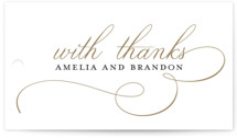 This is a white wedding favor tag by Jessica Williams called Elegant Flourish with standard printing on recycled in tag.
