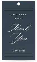 This is a blue wedding favor tag by Stacey Meacham called The Biltmore with standard printing on signature in tag.