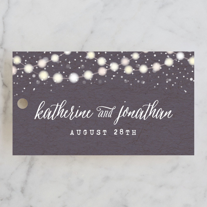"""""""Garden Lights"""" - Rustic, Whimsical & Funny Wedding Favor Tags in Plum by Hooray Creative."""