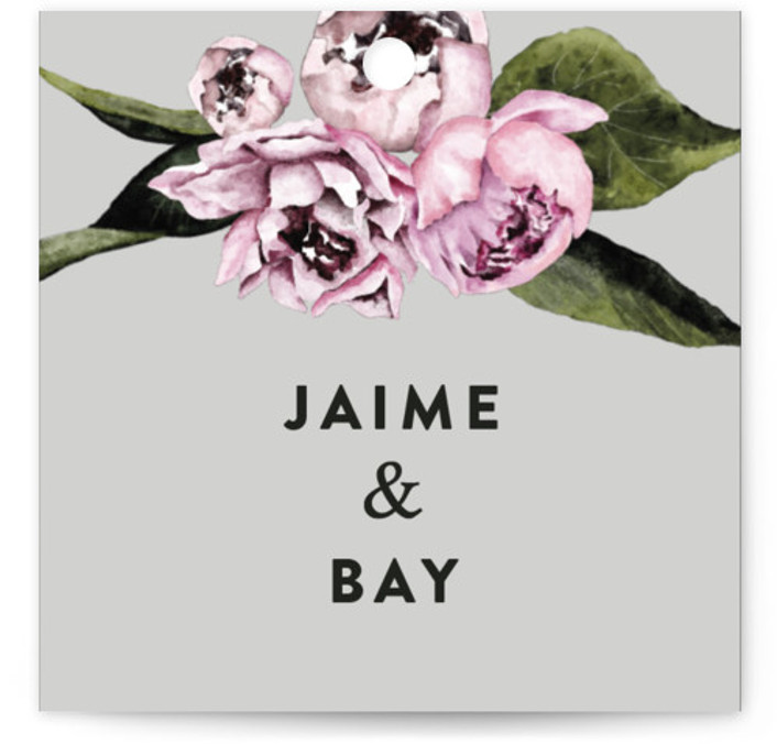 This is a square floral, grey Wedding Favor Tags by Cass Loh called Peony with Standard printing on Signature in Tag Flat Card format. Add the perfect finishing touch to all of your wedding gifts with these chic and customizable ...