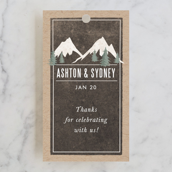 """Rustic Mountain"" - Rustic, Destination Wedding Favor Tags in Charcoal by Karidy Walker."