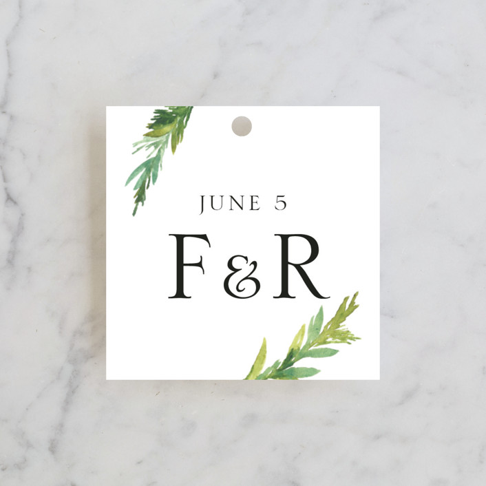 """""""Simple Pine Branches"""" - Rustic Wedding Favor Tags in Vanilla by Nikkol Christiansen."""