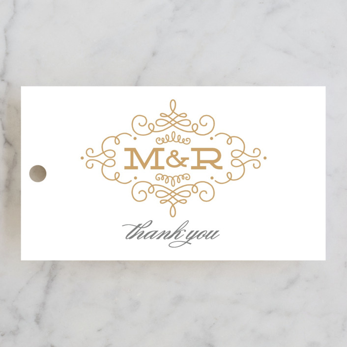 """Ornate Monogram"" - Monogrammed, Elegant Wedding Favor Tags in Faux Gold by Kristen Smith."