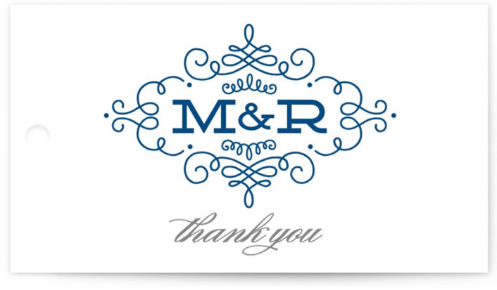 This is a landscape classical, elegant, formal, monogrammed, blue Wedding Favor Tags by Kristen Smith called Ornate Monogram with Standard printing on Signature in Tag Flat Card format. Add the perfect finishing touch to all of your wedding gifts with ...