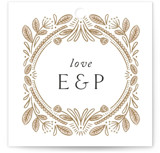 This is a brown wedding favor tag by Jen Owens called Charmed with standard printing on signature in tag.