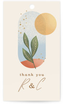 This is a beige wedding favor tag by Laura Bolter called Essence with standard printing on signature in tag.