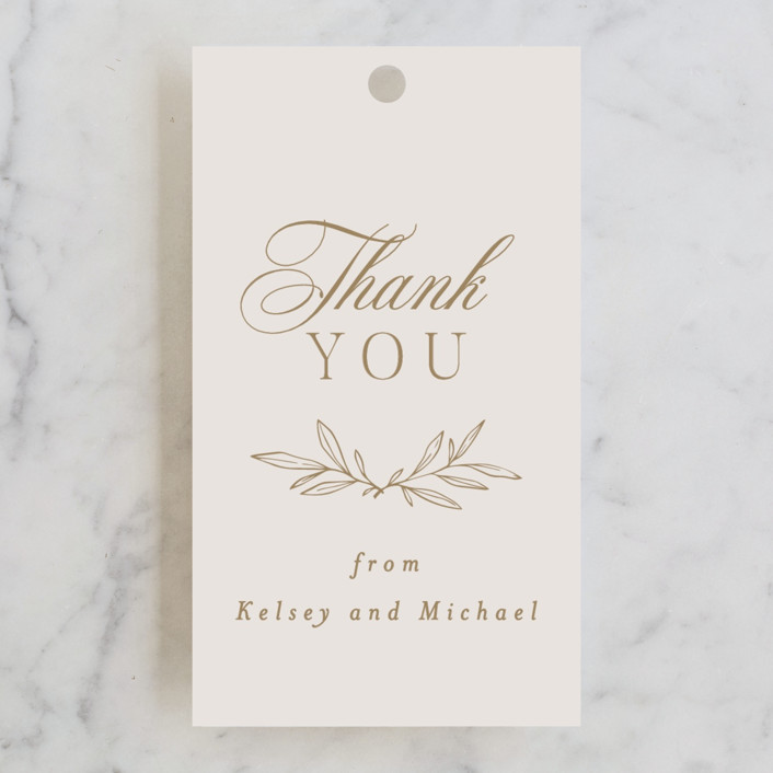 """""""Emblem"""" - Wedding Favor Tags in Champagne by Everett Paper Goods."""