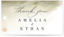 This is a green wedding favor tag by Hannah Williams called Pastel Sky with standard printing on signature in tag.