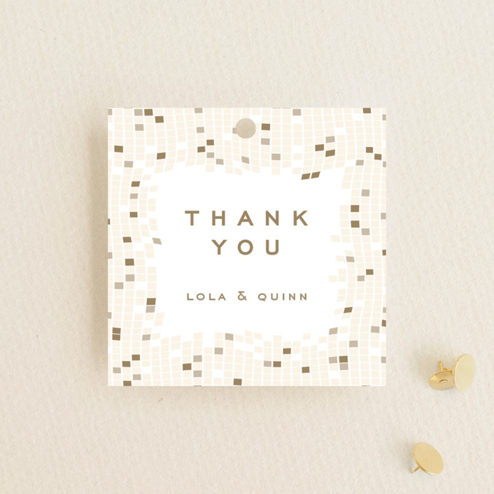 """""""Mosaic Waves"""" - Wedding Favor Tags in Cream by fatfatin."""