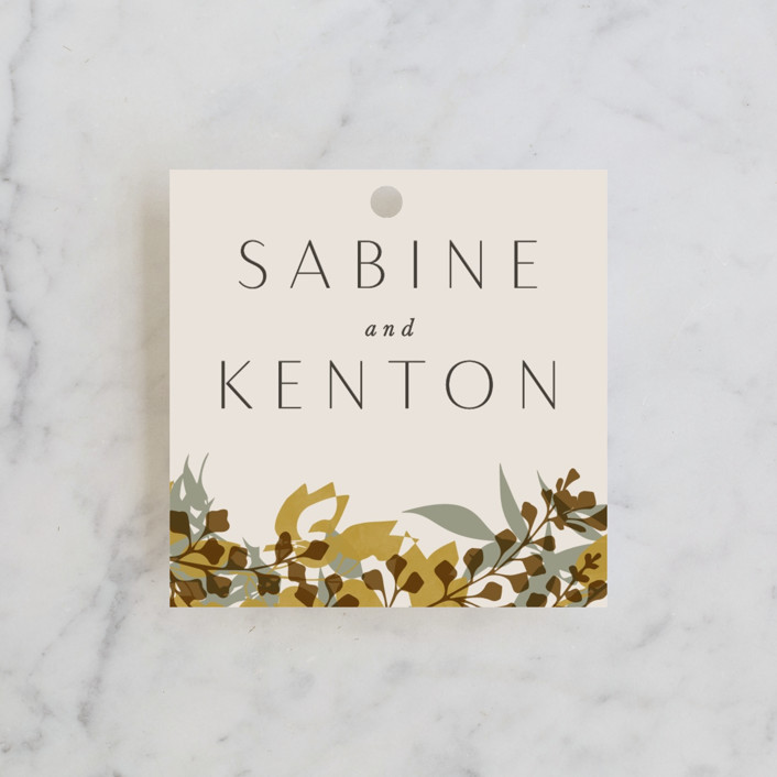 """""""Native Botanical"""" - Wedding Favor Tags in Honeysuckle by Corinne Malesic."""