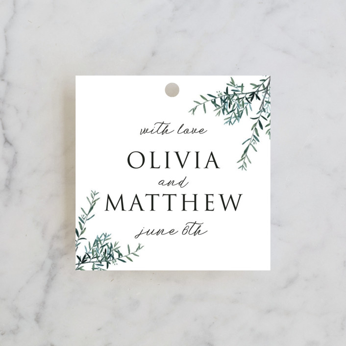 """Fresh Sage"" - Wedding Favor Tags in Olive by Christie Kelly."