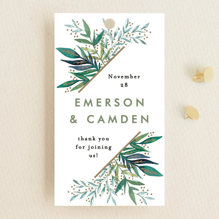 """""""Painted Leaves Corner"""" - Wedding Favor Tags in Forest by Alethea and Ruth."""